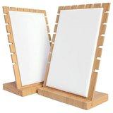 Sieradenhouder ketting staand - hout met wit imitatieleer -17,5x10x25xcm  _