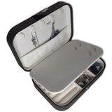 Sieradendoosje - zwart - met spiegeltje en drukknoop voor op reis - sieraden organizer_