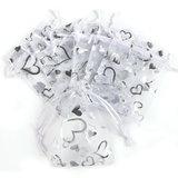 Organza zakjes wit met zilveren hartjes - 10x14 cm 100 stuks_