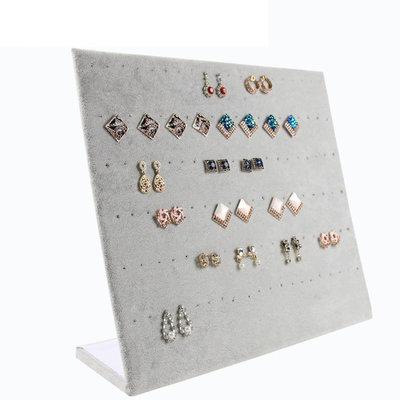 Oorbellen display staand grijs velours (voor 60 paar)