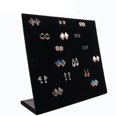 Oorbellen display staand zwart velours (voor 60 paar)