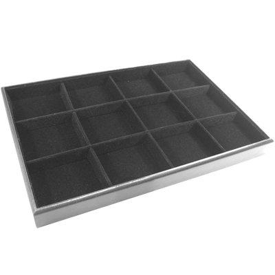 Display kralen box 12 vaks zwart velours