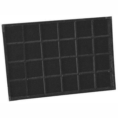Sieradendoos 24 vaks zwart velours zonder deksel