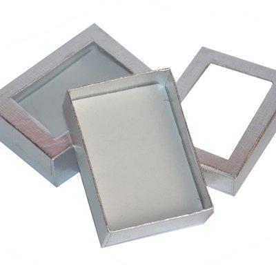 Verpakkingsdoosjes ketting met venster zilver
