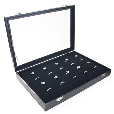 Ringendoos met deksel zwart - inkepingen voor brede ringen
