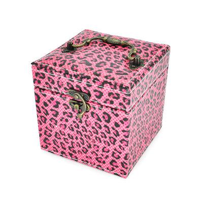 Juwelenkistje vierkant luipaard print roze