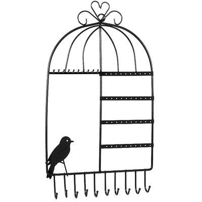 Wand sieradenrek vogelkooi zwart / sieraden opbergen