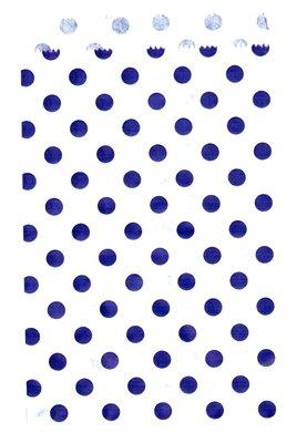 Papieren zakjes 10x16 cm wit met paarse stippen 50 stuks - 40 grams kraft papier