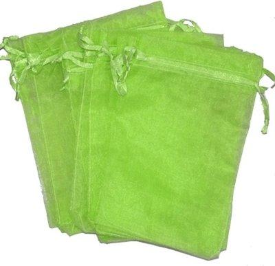 Organza zakjes licht groen 10 x 15 cm