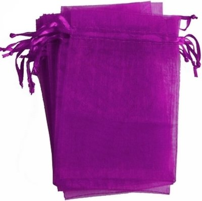 Organza zakjes paars 10 x 15 cm