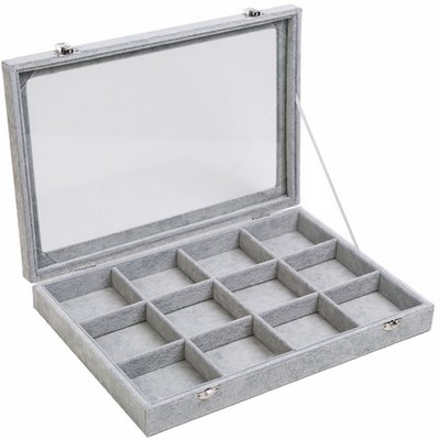 Sieradendoos / Opbergbox Grijs velours met deksel 12 vaks / sieraden display