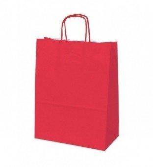 Papieren koordtas rood 50 stuks 18x8x22cm / papieren tasjes