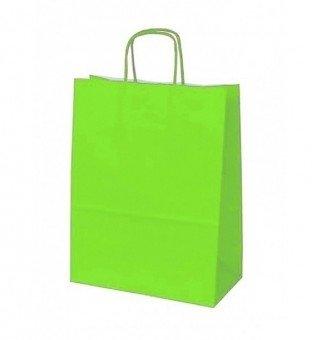 Papieren koordtas Groen 50 stuks 18x8x22cm / papieren tasjes