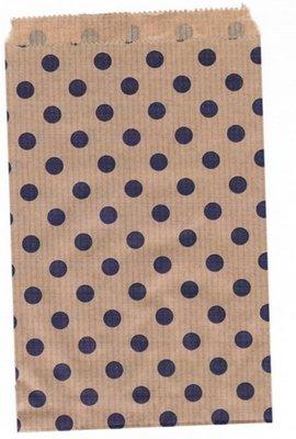 Fournituren zakjes 15x22 cm bruin met paarse stippen