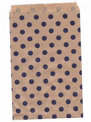 Fournituren zakjes 10x16 cm bruin met paarse stippen