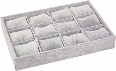 Sieradendoos grijs armbanden/horloge box kussentjes