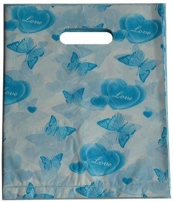 Plastic cadeau tasjes 25x20 vlinders blauw (100 stuks)