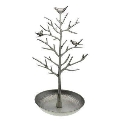Sieradenboom Metaal - met vogeltjes en bakje - Zilver grijs - 15x30 cm / sieradenhouder