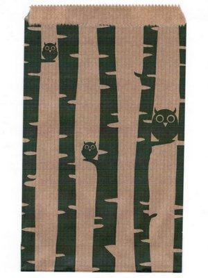 Fournituren zakjes 13,5x18 cm bruin met groene uiltjes