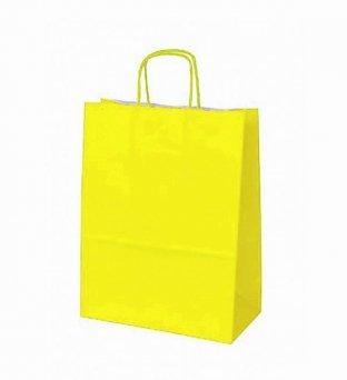Papieren koordtas geel 50 stuks 18x8x22cm / papieren tasjes