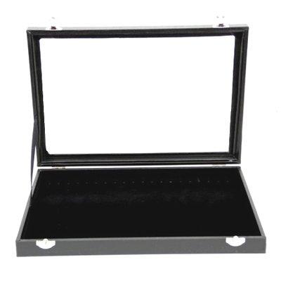 Armband display doos met deksel zwart met haakjes