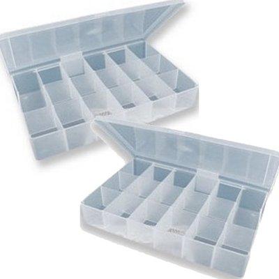 2 x Kralendoos / sorteerdoos met 17 vakken voor opbergen kralen