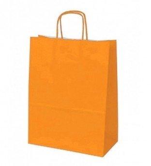 Papieren koordtas oranje 50 stuks 18x8x22cm / papieren tasjes