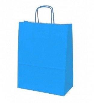 Papieren koordtas blauw 50 stuks 18x8x22cm / papieren tasjes
