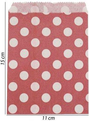 Papieren zakjes 11x15 cm rood met witte stippen (100 stuks)