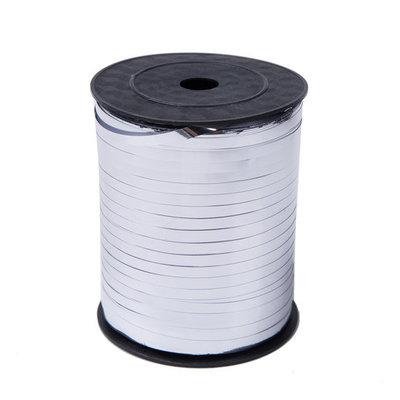 Krullint zilver glans 5 mm 500 mtr / cadeau lint
