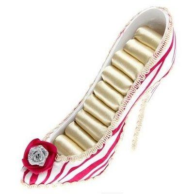 Ring display hakje voor ringen opbergen wit-roze gestreept