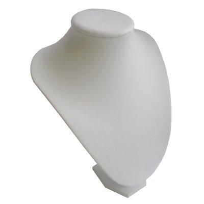 Ketting display hals wit lederlook 30 cm