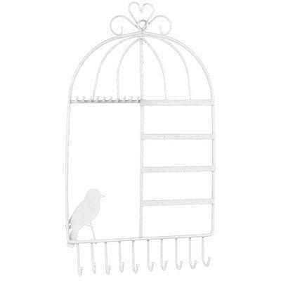 Wand sieradenrek vogelkooi wit / sieraden opbergen