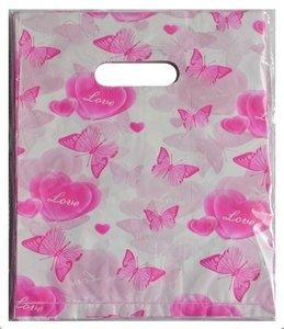 Plastic cadeau tasjes 25x20 vlinders roze (100 stuks)