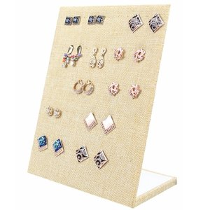 Display earrings vertical linen