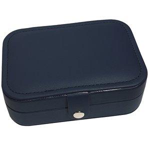 Sieradendoosje - donker blauw - met drukknoop voor op reis