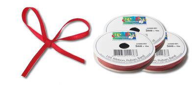 X-mass assortment - kerst satijn lint 3 mm rood