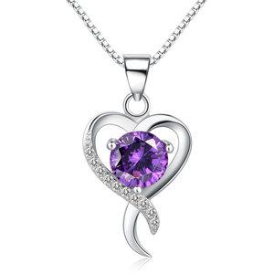 Zilveren hanger voor ketting  met paars hartje / hartjes hanger