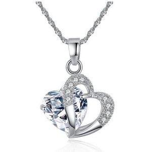 Ketting met hartje - Crystal - platinum plated - Austrian Crystal