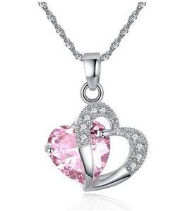 Ketting met hartje - Roze - platinum plated - Austrian Crystal