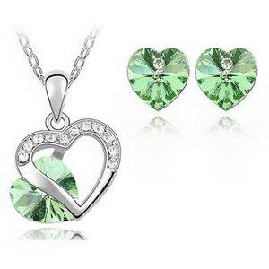sieradenset hartje - groen ketting met hanger en oorbellen