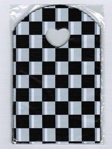 Traktatie zakjes 20x13cm (150 stuks) - zwart wit geblokt / cadeautasjes / kleine plastic tasjes