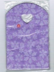 Traktatie zakjes 20x13cm (150 stuks) - paars met sneeuwvlokken / cadeautasjes / kleine plastic tasjes