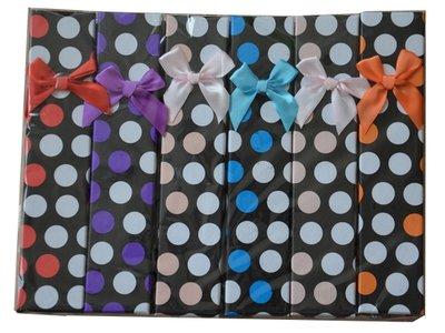 Cadeaudoosjes armband - gekleurd met stipjes - met strikje - karton rechthoek