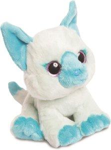 Aurora Pluche knuffel dier kat 18 cm wit / blauw - glitter oog