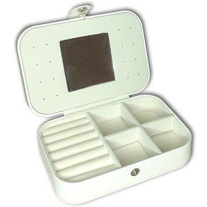 Sieradendoosje - wit - met spiegeltje en drukknoop voor op reis - sieraden organizer