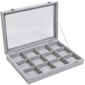 sieradendoos 12 vaks grijs met deksel