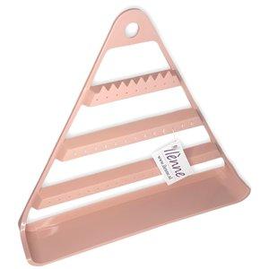 Oorbellenrekje - Driehoek licht roze 29x5,3x25,5 cm - kunststof