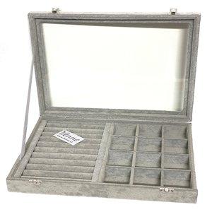 Sieradendoos met ringkussen en vakjes - Grijs - 35x24x5 cm - Met deksel