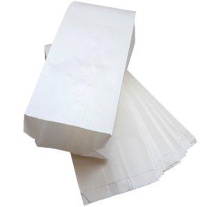 Witte papieren zakken met zijvouw 200 stuks - 13x8x26cm 1 pond vetvrij / Ersatz / snackzak